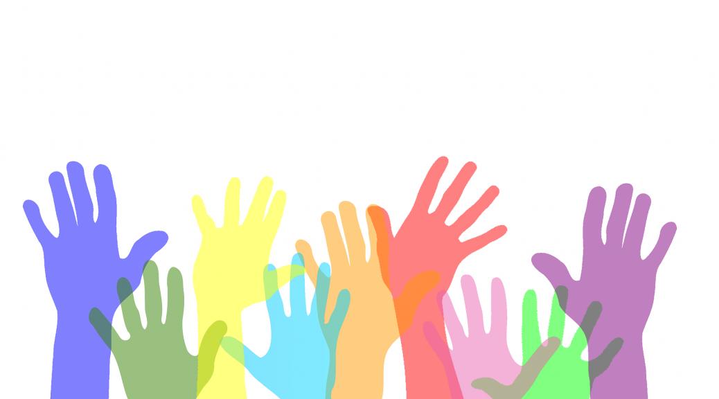Freiwillige Hände Hilfe Farben Nächstenliebe